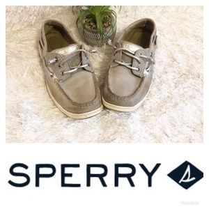 5/$25 Sperry Silver/White Boat Shoes! 🌸